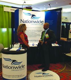Tammy  Luker Nationwide Credentialing speaks with Dr Relief Jones at TexMed 2015